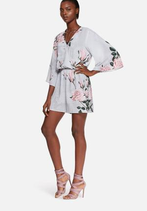 Glamorous Grey Lace Print Playsuit Grey, Pink & Green