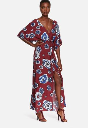 Glamorous Floral Maxi Dress Casual Burgundy & Blue