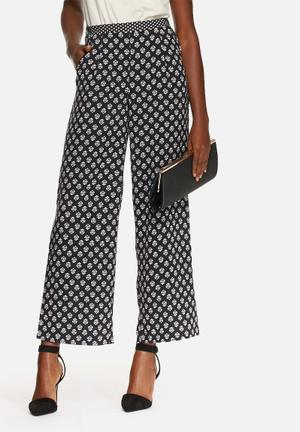ONLY Cupid Palazzo Pants Trousers Navy & White