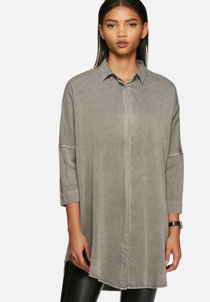VILA Calla Shirt Medium Grey Melange