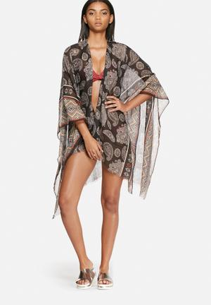 Vero Moda Parry Poncho Swimwear Black, Beige & Red