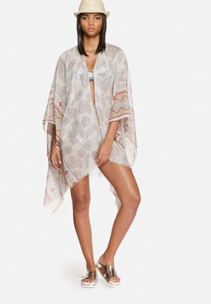 Vero Moda Parry Poncho Swimwear White, Brown & Red