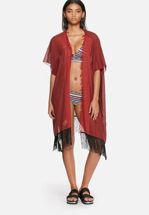 Vero Moda Zoey Poncho Swimwear Red & Black