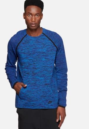 Nike Tech Knit Crew Hoodies & Sweatshirts Blue