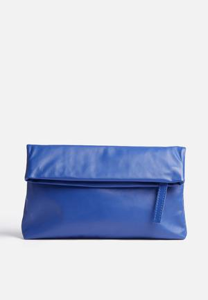 FSP Collection Leather Foldover Clutch Bags & Purses Blue