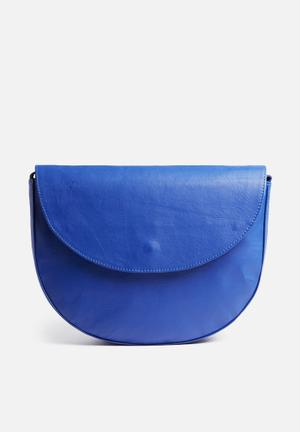FSP Collection Vicky Leather Crossbody Bag Blue