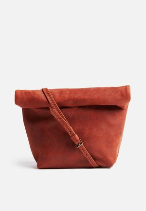 FSP Collection Leather Rollover Crossbody Bags & Purses Brown