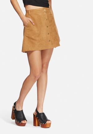 New Look Suedette Popper Skirt Tan
