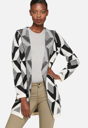 Vero Moda Viva Coatigan Knitwear Black & White