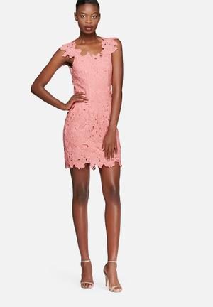 Glamorous Lace Dress Occasion Pink