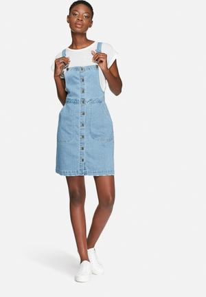 VILA Lagos Denim Dungaree Dress Casual Light Blue Denim
