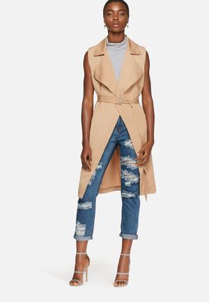 Glamorous Sleeveless Blazer Jackets Camel