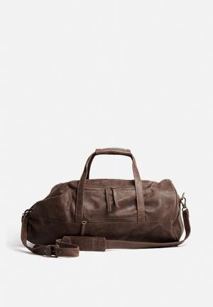 FSP Collection Leather Military Duffel Bags & Wallets Brown