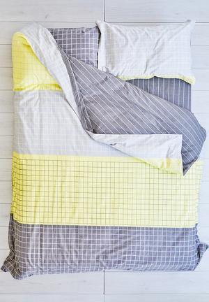 Cotton Cloud Grid Duvet Set Bedding 100% Cotton & 500 Thread Count