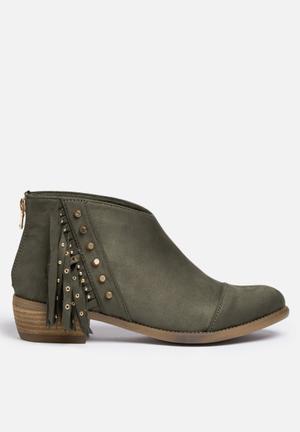 Sissy Boy Fringe Ankle Boot Dark Olive