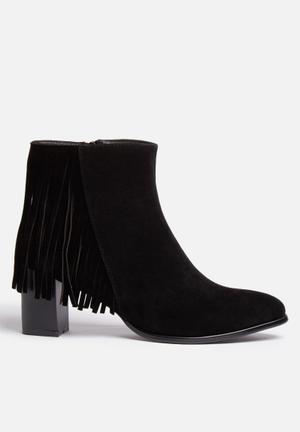 Gino Paoli Fringe Ankle Boot Black