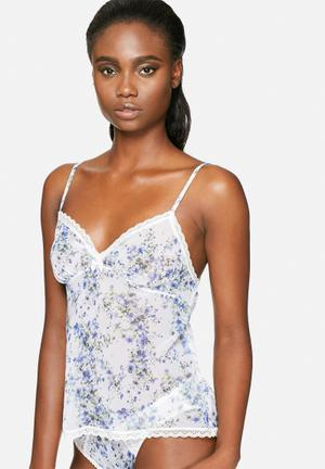 Marie Meili Dakota Camisole Sleepwear White, Blue & Green