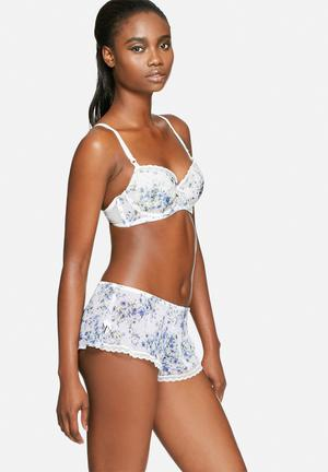 Marie Meili Dakota Shorts Sleepwear White, Blue & Green