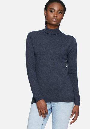 Pieces River Roll Neck Knit Knitwear Navy