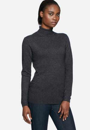Pieces River Roll Neck Knit Knitwear Charcoal