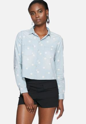 ONLY Always Cropped Shirt  Light Blue