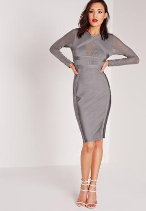 Missguided Bandage Bodycon Dress Occasion Grey