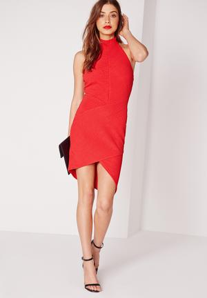 Missguided Asymmetric Bodycon Dress Occasion Red