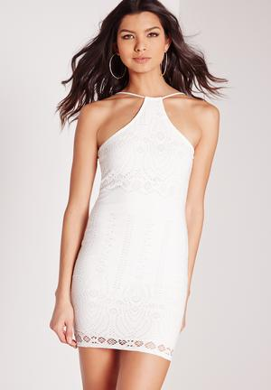 Missguided Racer Neck Bodycon Dress Occasion White