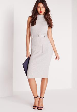 Missguided Belted Midi Dress Occasion Grey