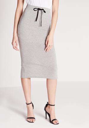 Missguided Drawstring Longline Skirt  Grey
