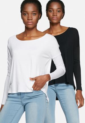 Dailyfriday Round Neck - 2 Pack T-Shirts, Vests & Camis White & Black