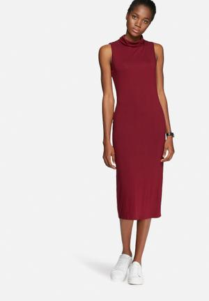 Dailyfriday Polo Neck Midi Dress Casual Burgundy
