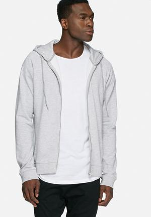 Basicthread Full Zip Hoodie Hoodies & Sweatshirts Grey Melange