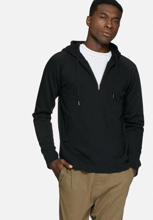 Basicthread 1/4 Zip Hoodie Hoodies & Sweatshirts Black