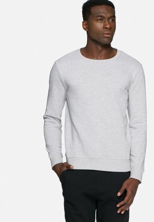 Basicthread Crew Neck Sweat Hoodies & Sweatshirts Grey Melange