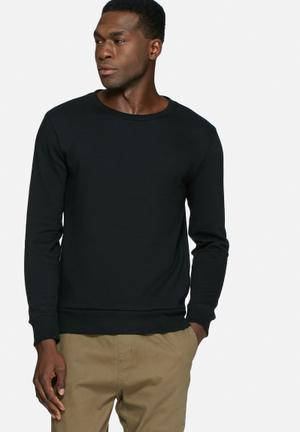 Basicthread Side Zip Sweat Hoodies & Sweatshirts Black