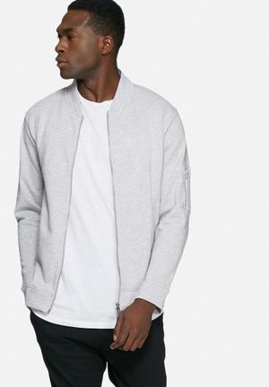 Basicthread Bomber Zip Sweat Hoodies & Sweatshirts Grey Melange