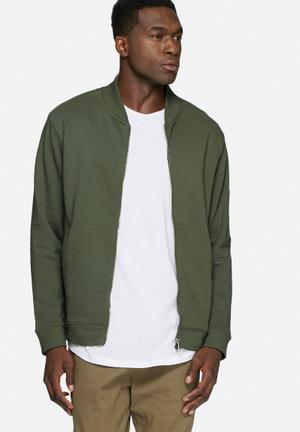 Basicthread Bomber Zip Sweat Hoodies & Sweatshirts Khaki
