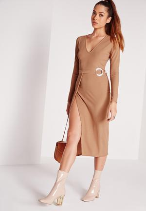 Missguided V-neck Belted Mini Dress Occasion Brown