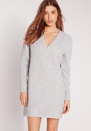 Missguided V-neck Jumper Dress Casual Grey