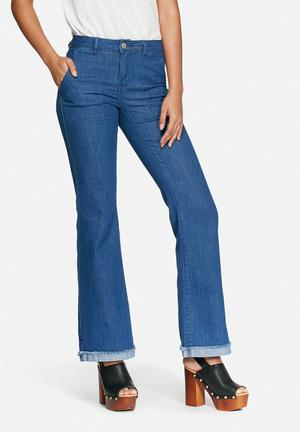 Jacqueline De Yong Saga Flared Jeans Medium Blue Denim