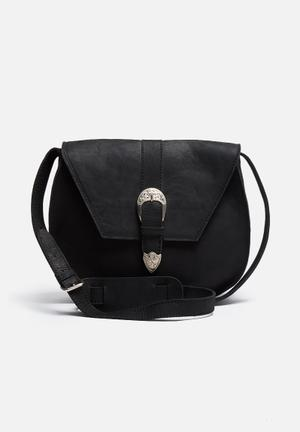 FSP Collection Nesbit Leather Saddle Bag Black