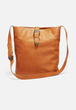 FSP Collection Tal Leather Cowboy Bucket Bags & Purses Tan