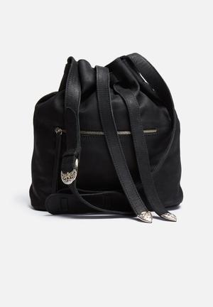 FSP Collection Fad Leather Cowboy Bucket Bag Black