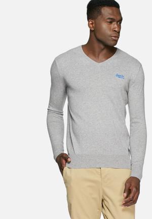 Superdry. Orange Label Knit Knitwear Grey Melange