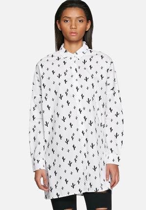 Noisy May Cactus Oversize Shirt White