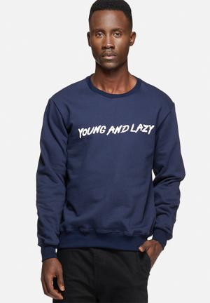 Young And Lazy Script Crewneck Hoodies & Sweatshirts Navy