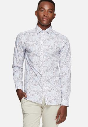 Selected Homme Luiz Slim Shirt White, Blue & Red