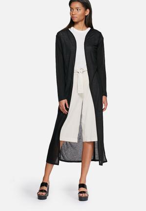 ONLY Kasana Slit Long Cardigan Knitwear Black