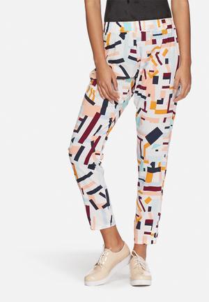 Jacqueline De Yong Beat It Pants Trousers White, Pink & Blue